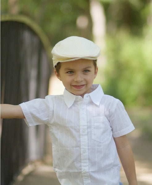 Rugged Butts Boys Yellow Seersucker Drivers Cap - JEN'S KIDS BOUTIQUE
