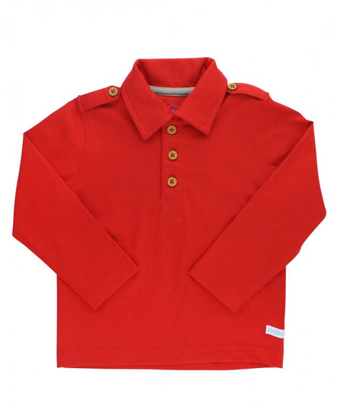 Rugged Butts 2017 Fall Boys Red Long Sleeve Polo Shirt - JEN'S KIDS BOUTIQUE