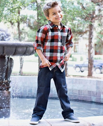Rugged Butts Boy Christmas Red, White, Plaid Down Shirt CH - JEN'S KIDS BOUTIQUE