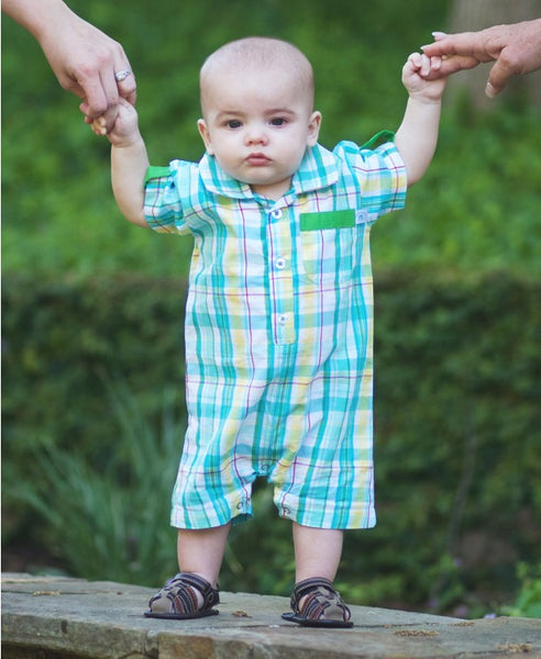 Rugged Butts Finn Boys Easter Plaid Romper - JEN'S KIDS BOUTIQUE
