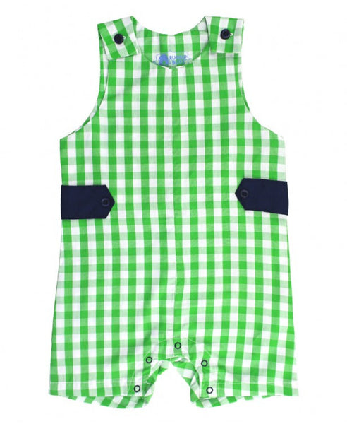 Rugged Butts Boys Spring Infant Green Gingham Jon Jon - JEN'S KIDS BOUTIQUE