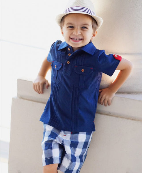 Rugged Butts 2017 Boys Navy Blue Two Pocket Polo Shirt - JEN'S KIDS BOUTIQUE