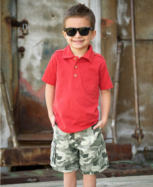 Rugged Butts Spring 2017 Boys Red One Pocket Polo Shirt - JEN'S KIDS BOUTIQUE