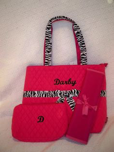 Princess Adorable Hot Pink Zebra Diaper Bag - JEN'S KIDS BOUTIQUE