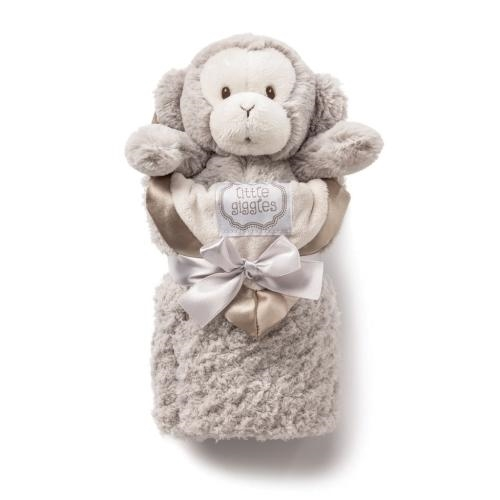 Demdaco Ki Taupe Monkey and Blanket Gift Set - JEN'S KIDS BOUTIQUE