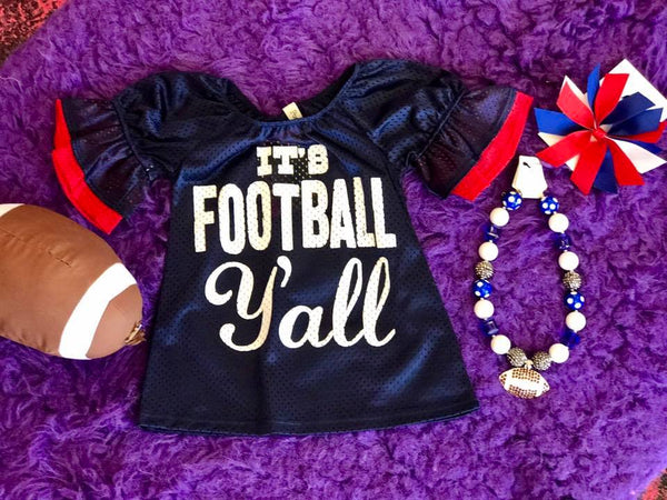 Game Day 2017 Fall It's Football Y'all Mesh Bell Sleeve Jersey Navy/Red - JEN'S KIDS BOUTIQUE