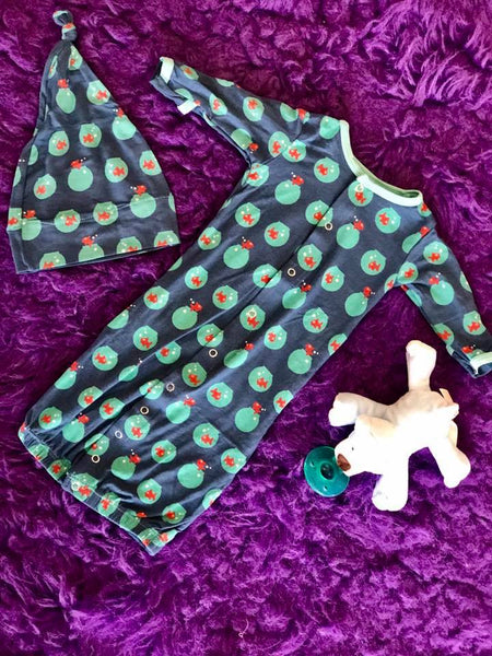 KicKee Pants 2017 Fall Girls Twilight Fishbowl Print Layette Gown Converter & Knot Hat Set - JEN'S KIDS BOUTIQUE