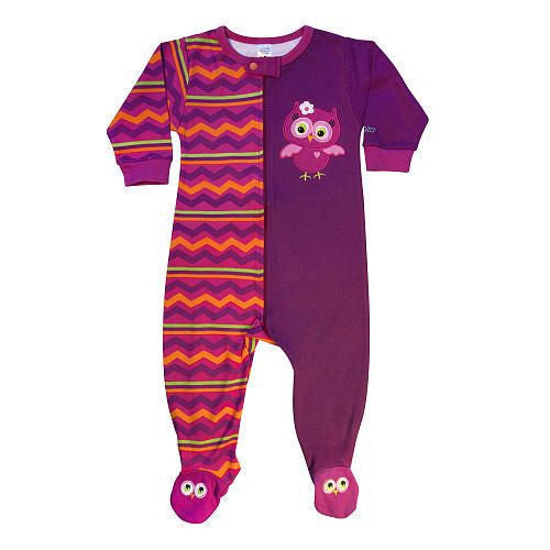 SOZO Girls Owl Embroidered Footie with Anti Skid Feet. - JEN'S KIDS BOUTIQUE