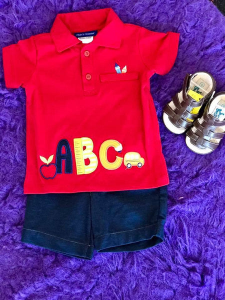 Bonnie Baby Boys Red ABC Short Set - JEN'S KIDS BOUTIQUE