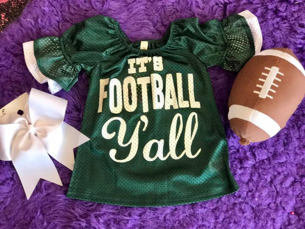 Game Day 2017 Fall It's Football Y'all Mesh Bell Sleeve Jersey Green/White - JEN'S KIDS BOUTIQUE