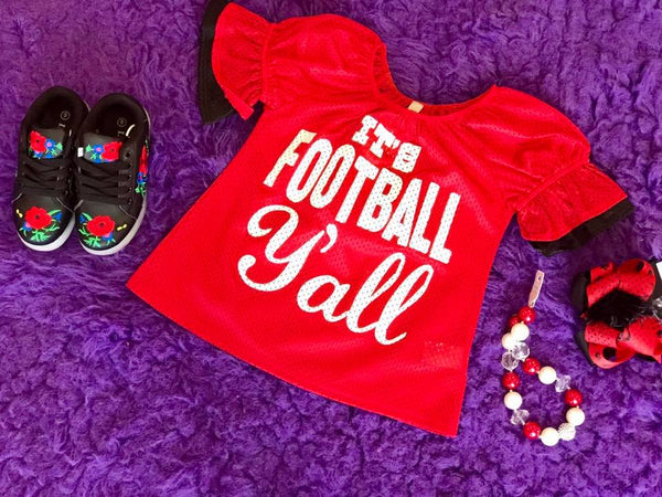 Game Day 2017 Fall It's Football Y'all Mesh Bell Sleeve Jersey Red/Black - JEN'S KIDS BOUTIQUE