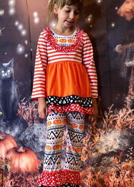 Adorables 2017 Halloween Pumpkin Girls Pant Set - JEN'S KIDS BOUTIQUE