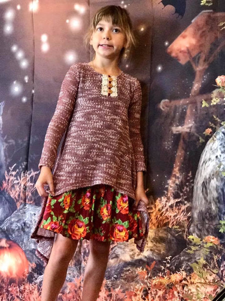 Peaches 'n Cream Fall Autumn Harvest Sweater Dress F - JEN'S KIDS BOUTIQUE