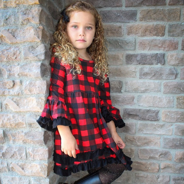 2018 Fall Cotton Red & Black Plaid Ruffle Long Sleeve Dress - JEN'S KIDS BOUTIQUE