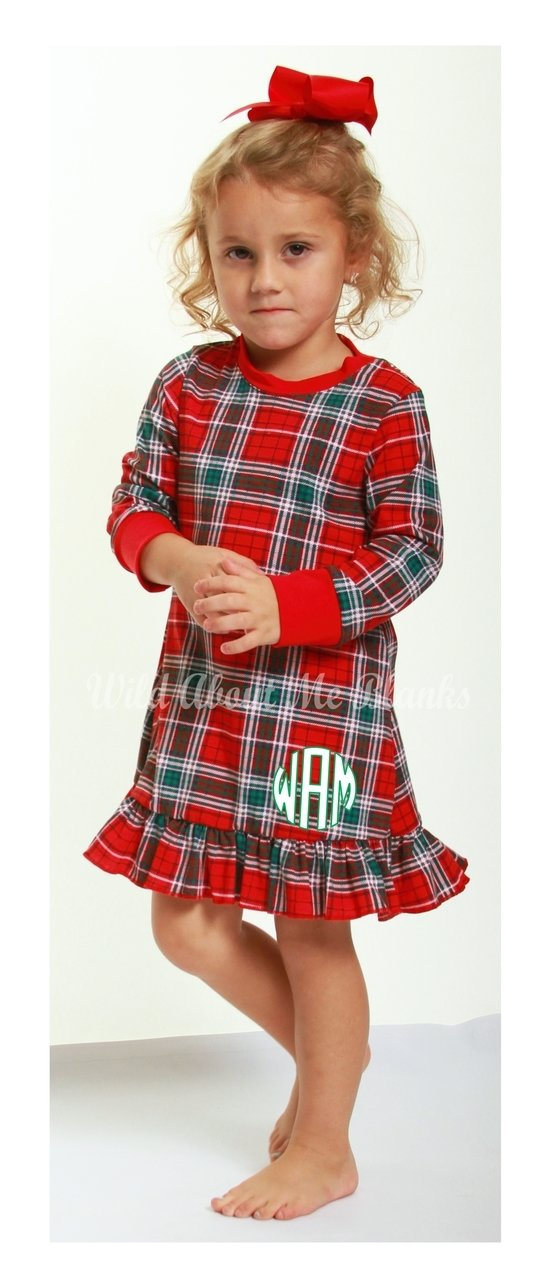 absorba 2017 christmas red green plaid christmas gown jens kids boutique - Plaid Christmas Dress
