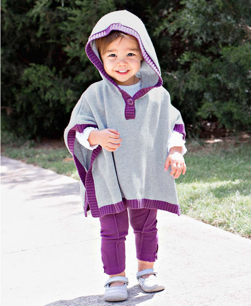 Ruffle Butts 2017 Fall Girls Gray & Plum Sweater Cape - JEN'S KIDS BOUTIQUE