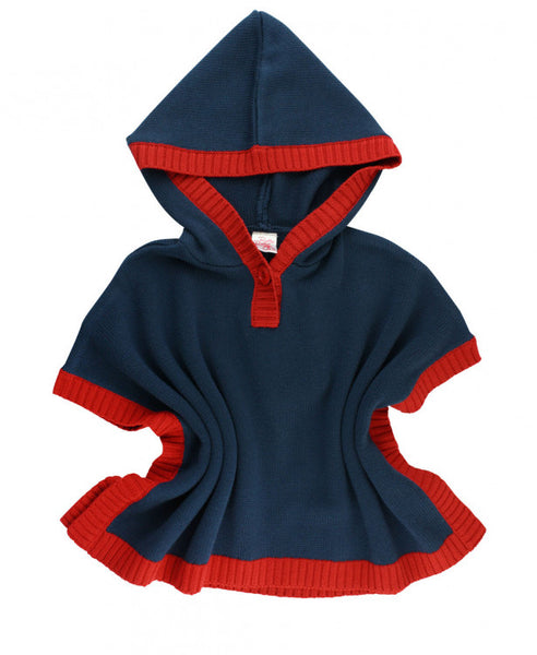 Ruffle Butts 2017 Fall Girls Navy & Red Sweater Cape - JEN'S KIDS BOUTIQUE