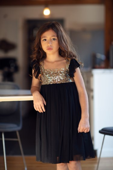 New Christmas Mustard Pie Black Shimmer Dress - JEN'S KIDS BOUTIQUE