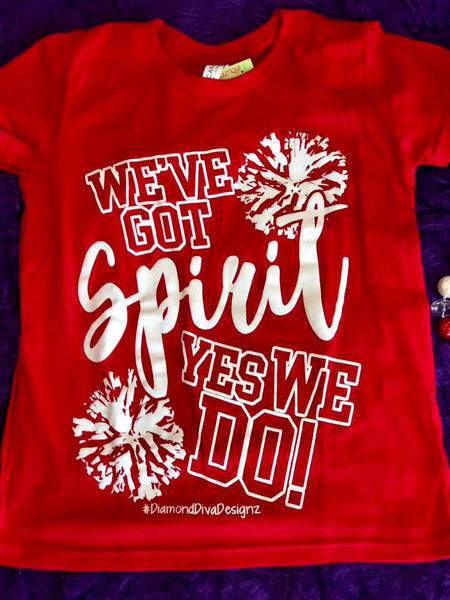 Diamond Diva 2017 Fall Got Spirit Youth Game Day Red/White Shirt - JEN'S KIDS BOUTIQUE