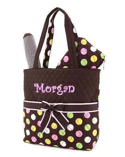 Princess Adorable Brown Polka Dot Diaper Bag - JEN'S KIDS BOUTIQUE