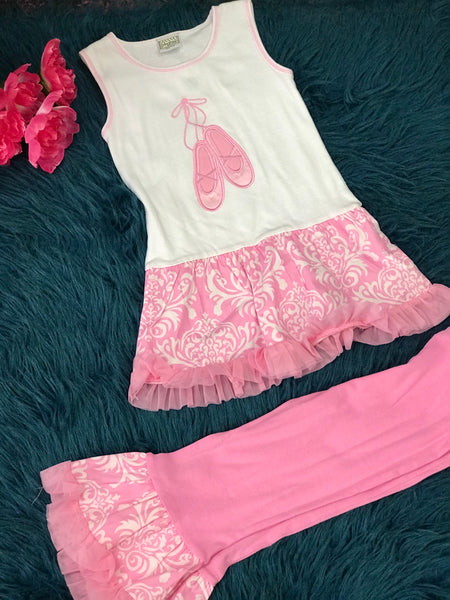 Ann Loren Pink & White Ballet Shoes Capri Set C - JEN'S KIDS BOUTIQUE