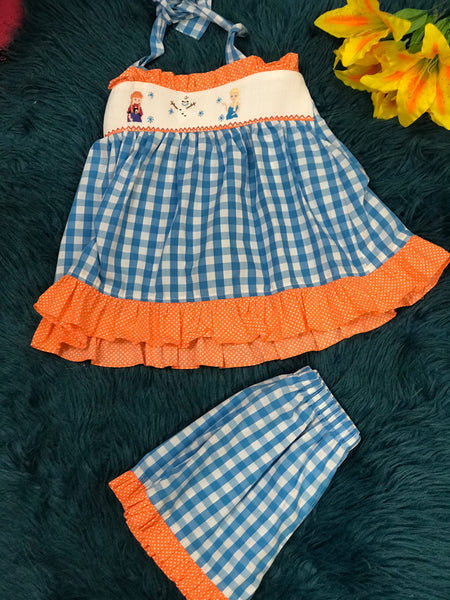 Three Sisters Frozen Summer Halter Shorts Set C - JEN'S KIDS BOUTIQUE
