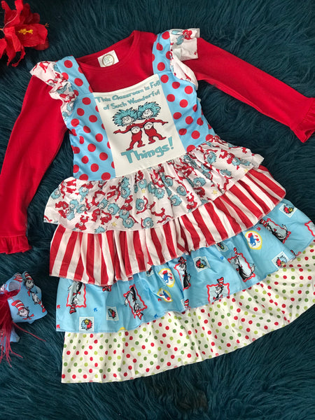 Character Fun Dr Seuss Thing 1 Thing 2 Short Sleeve Cotton Ruffle Dress - JEN'S KIDS BOUTIQUE