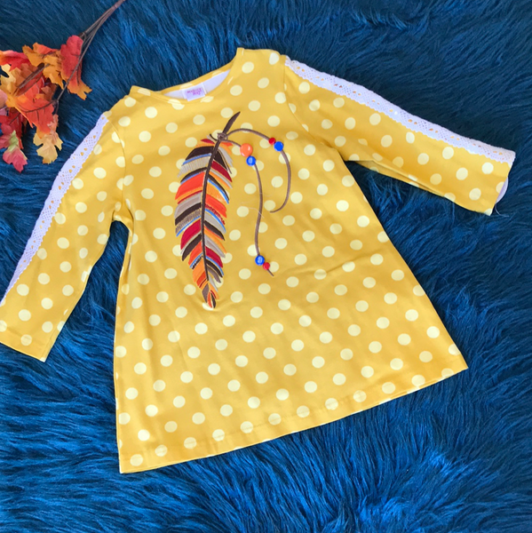 Mallory May By Peaches And Cream Feather Shirt - JEN'S KIDS BOUTIQUE