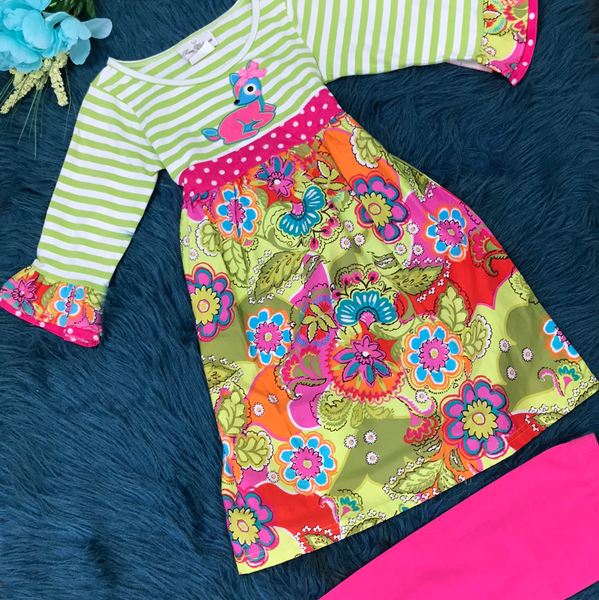 Rare Editions Lime Green Deer & Floral Legging Set - JEN'S KIDS BOUTIQUE