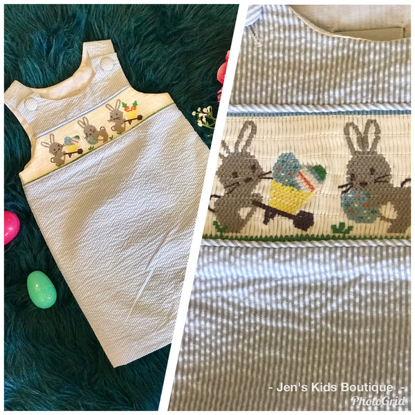 Adorable Mudpie Boys Seersucker Easter Blue Bunny Romper - JEN'S KIDS BOUTIQUE
