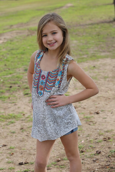 2018 Spring adorable Feather Tribal Sleeveless Shirt - JEN'S KIDS BOUTIQUE