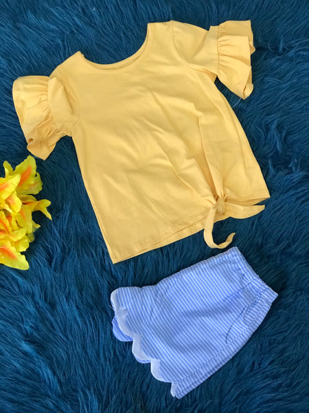 Mable & Honey Yellow Trumpet Sleeve Two Piece Shorts Set - JEN'S KIDS BOUTIQUE