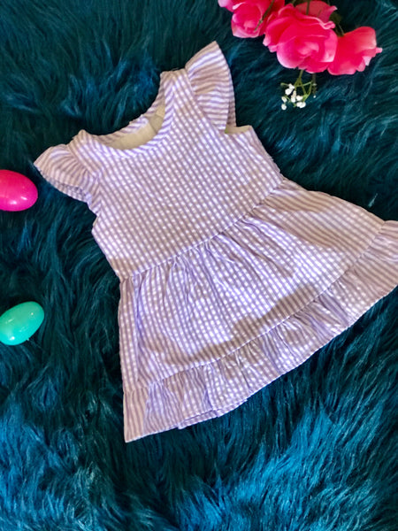Spring Loves Seersucker Lavender Stripped Dress - JEN'S KIDS BOUTIQUE