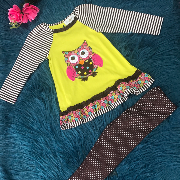 Rare Editions Pink & Brown Owl Friends Legging Set - JEN'S KIDS BOUTIQUE