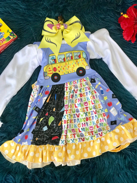 Back To School ABC School Bus Fun Sleeveless Dress - JEN'S KIDS BOUTIQUE