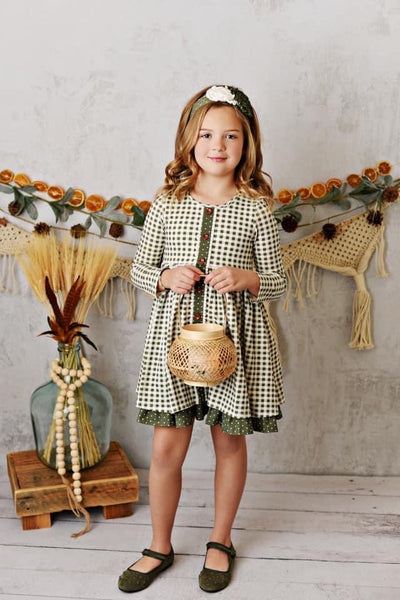 Swoon By Serendipity Fall Charlotte Willow Gingham Dress CL - JEN'S KIDS BOUTIQUE