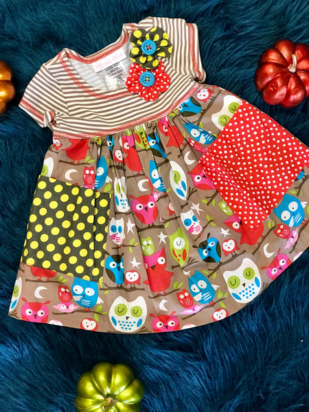 Fall Brown Owl School Dress - JEN'S KIDS BOUTIQUE