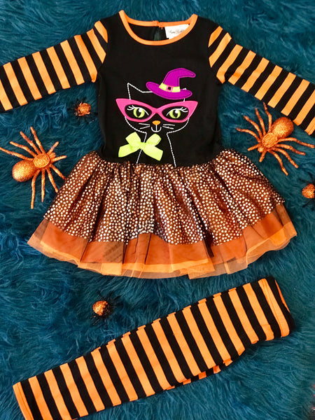 Fall Halloween Smart Cat Tutu Set H - JEN'S KIDS BOUTIQUE