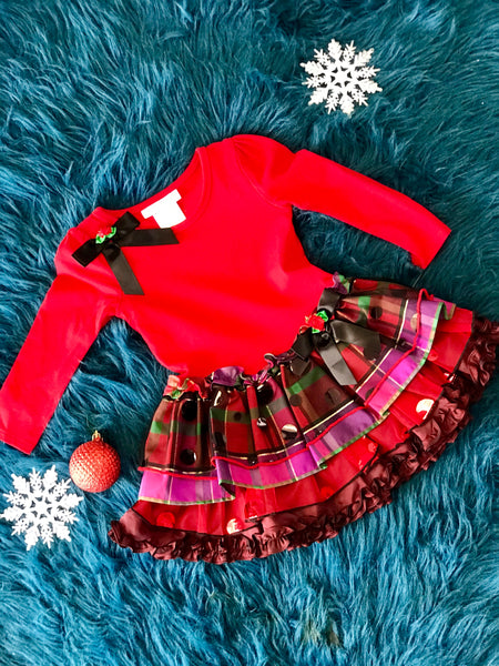 Bonnie jean Christmas Plaid Christmas Dress - JEN'S KIDS BOUTIQUE