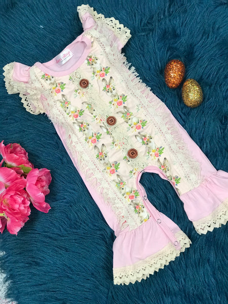 Easter Pink Fringe Bunny Baby Infant Romper - JEN'S KIDS BOUTIQUE