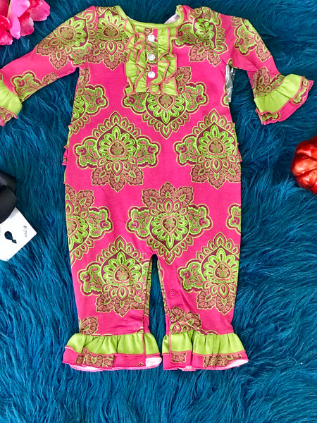 Flit & Flitter Hot Pink/ Green Infant Romper CL - JEN'S KIDS BOUTIQUE