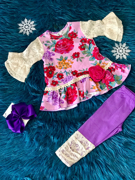 Fall Sassy Me Coming Up Roses Legging Set CLF - JEN'S KIDS BOUTIQUE