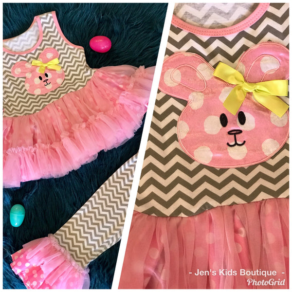 Spring Chevron Easter Bunny Face Tutu Legging Set - JEN'S KIDS BOUTIQUE