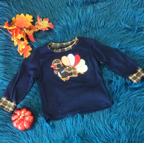 New Fall Thanksgiving Navy & Plaid Turkey Foot Ball Boys Long Sleeve Shirt - JEN'S KIDS BOUTIQUE