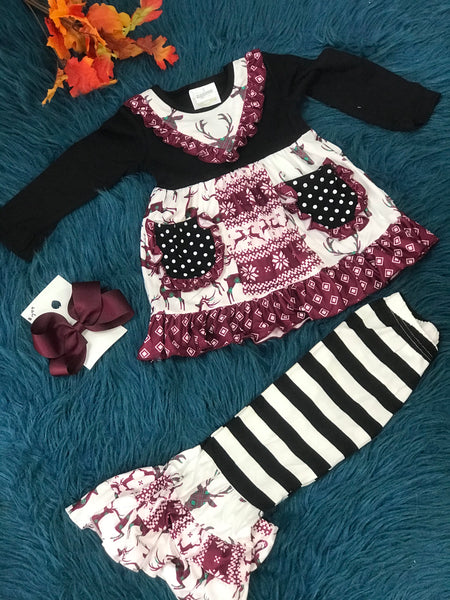 New Christmas Girls Burgundy Mixed Deer Pocket Ruffle Pant Set C - JEN'S KIDS BOUTIQUE