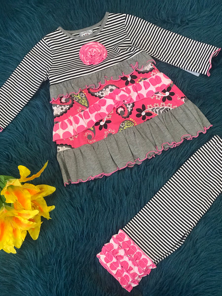 Three Sisters Stripped Gray & Pink Paisley Ruffle Pant Set C - JEN'S KIDS BOUTIQUE