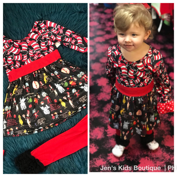 New Fall Dr Seuss & The Red & Black Gang Ruffle Pant Set - JEN'S KIDS BOUTIQUE