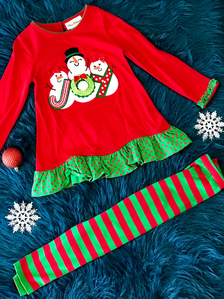 Rare E Christmas Three Snowman Pant Set CH - JEN'S KIDS BOUTIQUE
