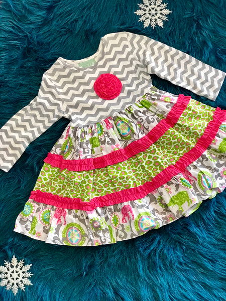Sage & Lilly Elephant Dress - JEN'S KIDS BOUTIQUE