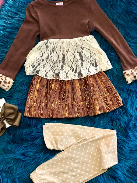 Mallory May Brown Cheetah Lace Multi Set - JEN'S KIDS BOUTIQUE